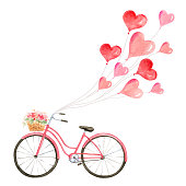 Happy Valentines day. Watercolor vector card with a bicycle and flying balloons in the form of hearts. Hand drawn illustration for Mothers Day or Womens Day, greeting cards, invitations.