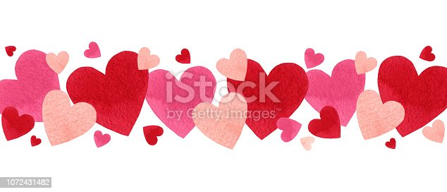 Happy Valentine's day. Watercolor vector banner with red hearts isolated on white background. Hand drawn illustration for Mother's Day or Women's Day, greeting cards, invitations and posters.