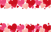 Happy Valentines day. Watercolor vector banner with red hearts isolated on white background. Hand drawn illustration for Mothers Day or Womens Day, greeting cards, invitations and posters.