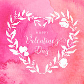 This beautiful Valentine's Day watercolour heart vector design can be scaled to any size without loss of quality. The detailed painted heart shape is formed from flower petals, leaves, branches and berries. The EPS 10 file can be coloured to suit your needs making this an ideal design element for your Valentine's Day card or design project.
