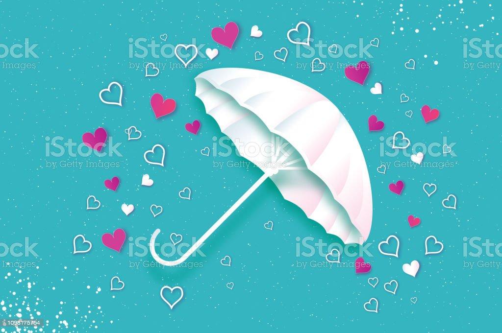 Happy Valentines day. White umbrella. Air with Love raining. Origami...