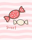 Happy Valentine's Day with cute candy, Valentines Day sweet taffy, Valentine card and poster