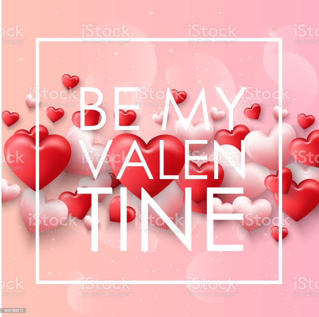 Happy valentines day with pink background with ornaments vector art illustration