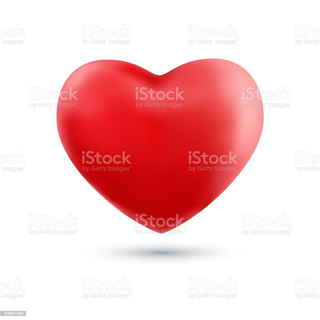 Happy valentines day with symbol 3d red heart ballon isolated on white background. vector art illustration
