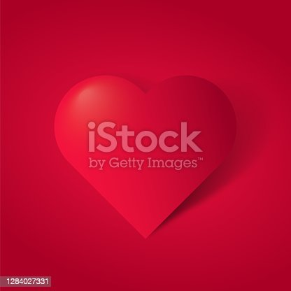 istock Happy valentines day with symbol 3d red heart  on red background. stock illustration 1284027331