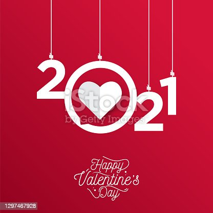 istock Happy valentines day with symbol 3d red hearts on red background. 2021 valentine's stock illustration 1297467928