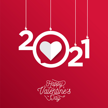 Happy valentines day with symbol 3d red hearts on red background. 2021 valentine's stock illustration