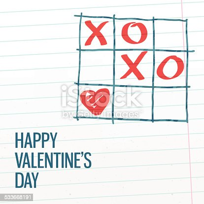 Happy Valentine's day xoxo tick-tack-toe greating card with paper texture background.  Vector illustration, easy editable.