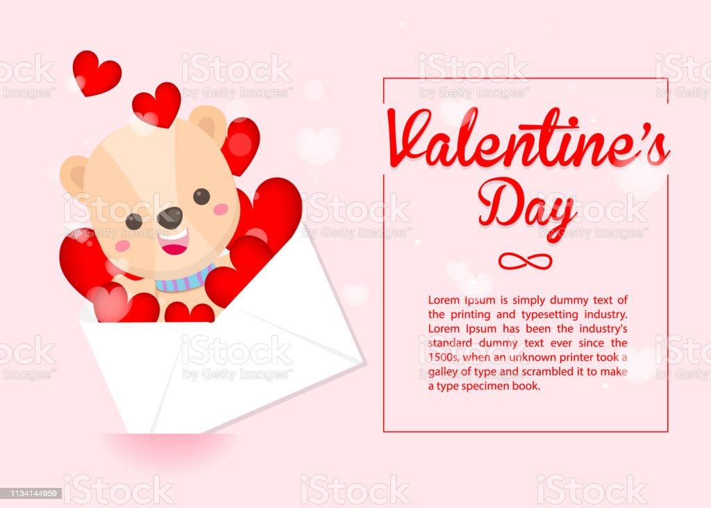 Happy Valentine's day,Cute bear and heart's envelope on pink background. Greeting card for Valentine's day