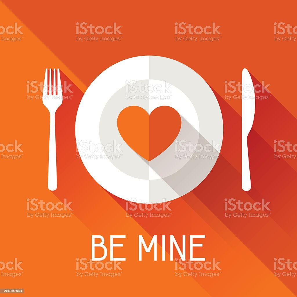 Happy Valentine's illustration in flat style. vector art illustration