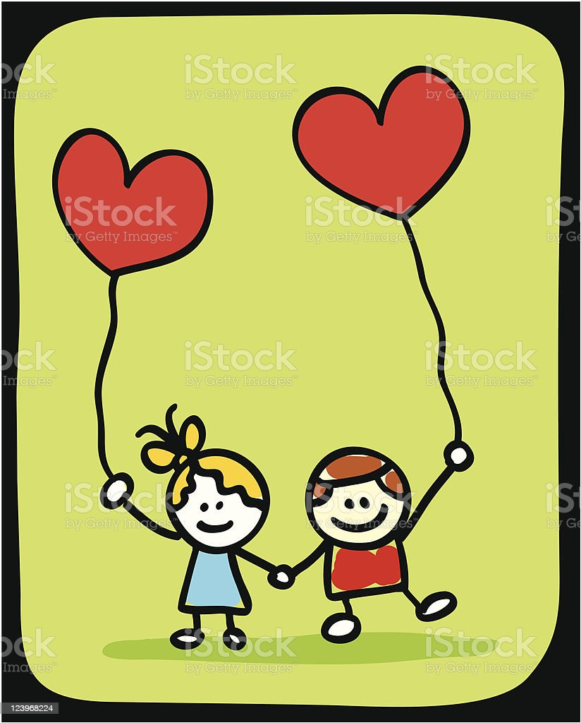 happy valentine's lover children couple holding heart cartoon illustration royalty-free happy valentines lover children couple holding heart cartoon illustration stock vector art & more images of balloon