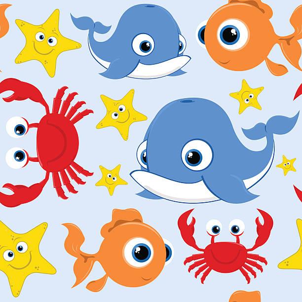 Happy Vector Cartoon Sealife Seamless Tile vector art illustration