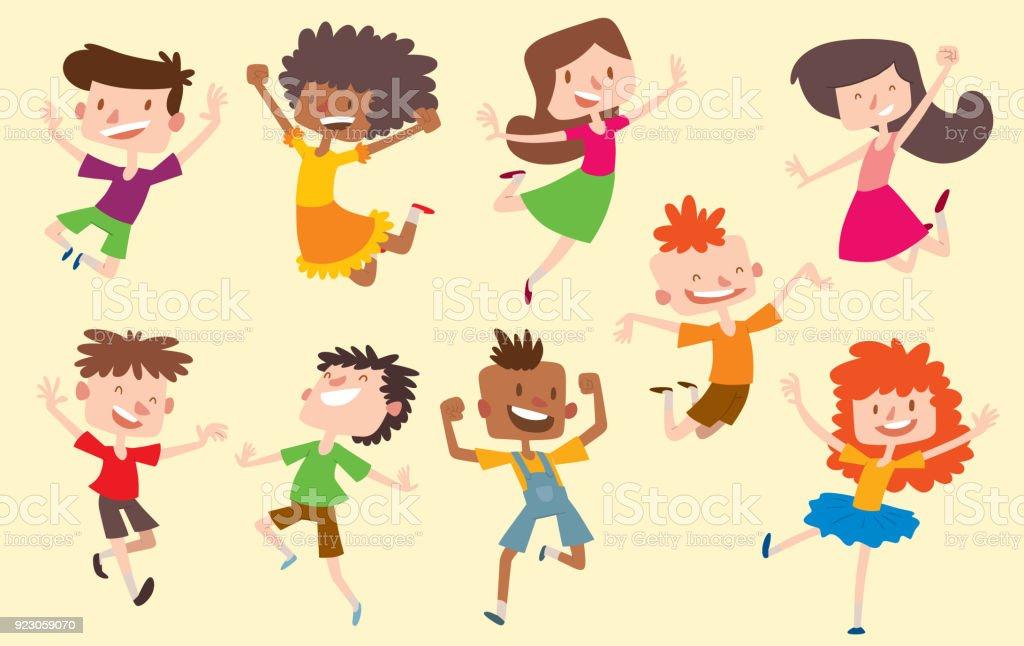 Glücklich Vektor Kinder Springen Stellt Niedlichen Jungen Und ...