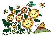 Happy Vector Sunflowers, Bees and Snail. Suitable for greeting cards to cheer somebody up.