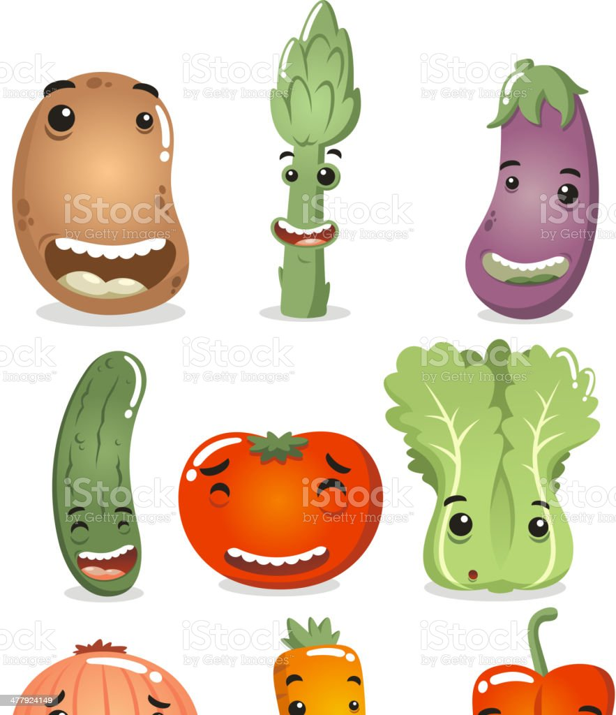 Happy Vegetable Characters royalty-free stock vector art