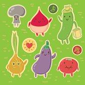 Happy Vegetables Sticker Set