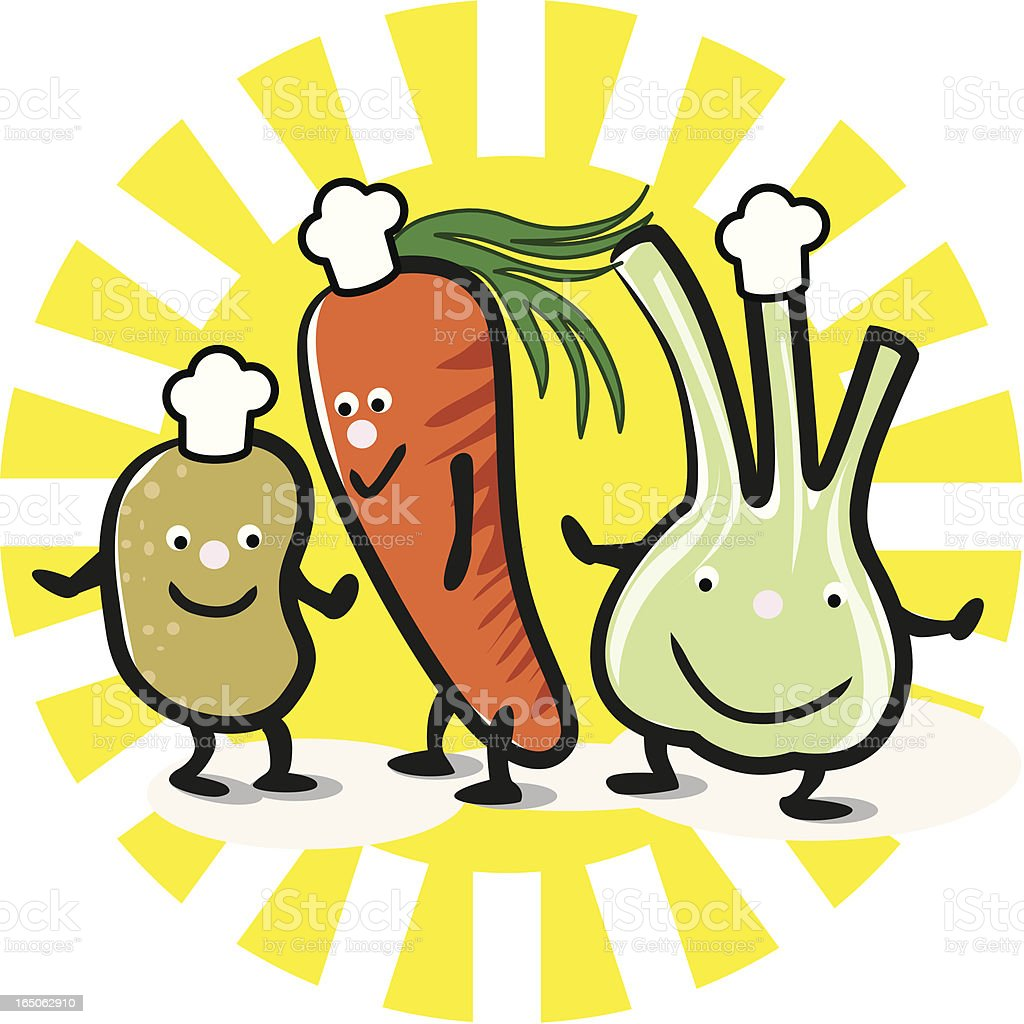 happy vegetables royalty-free stock vector art