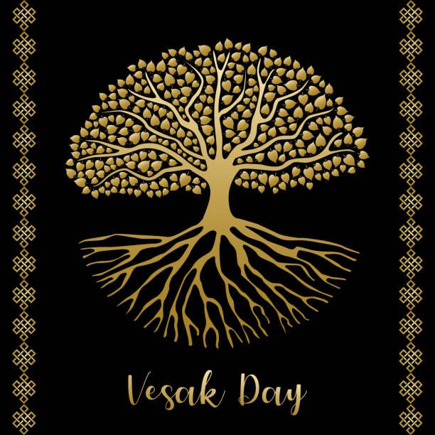 Happy Vesak día tarjeta de felicitación de oro Bodhi árbol - ilustración de arte vectorial