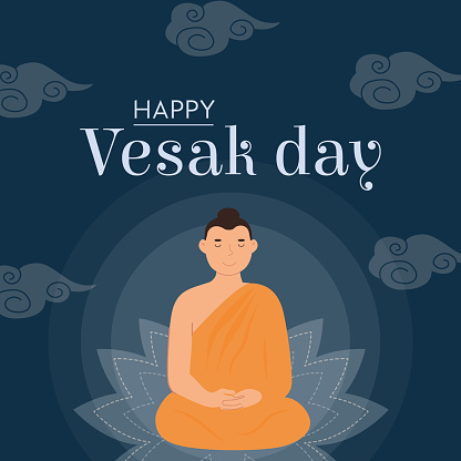 Happy Vesak Day Vector Card. Lord Buddha sitting on lotus seat with rays of light. Translation from Sanskrit Festival of Gautama Birth, Death, Nirvana. Vector Buddhist religious holiday celebration.