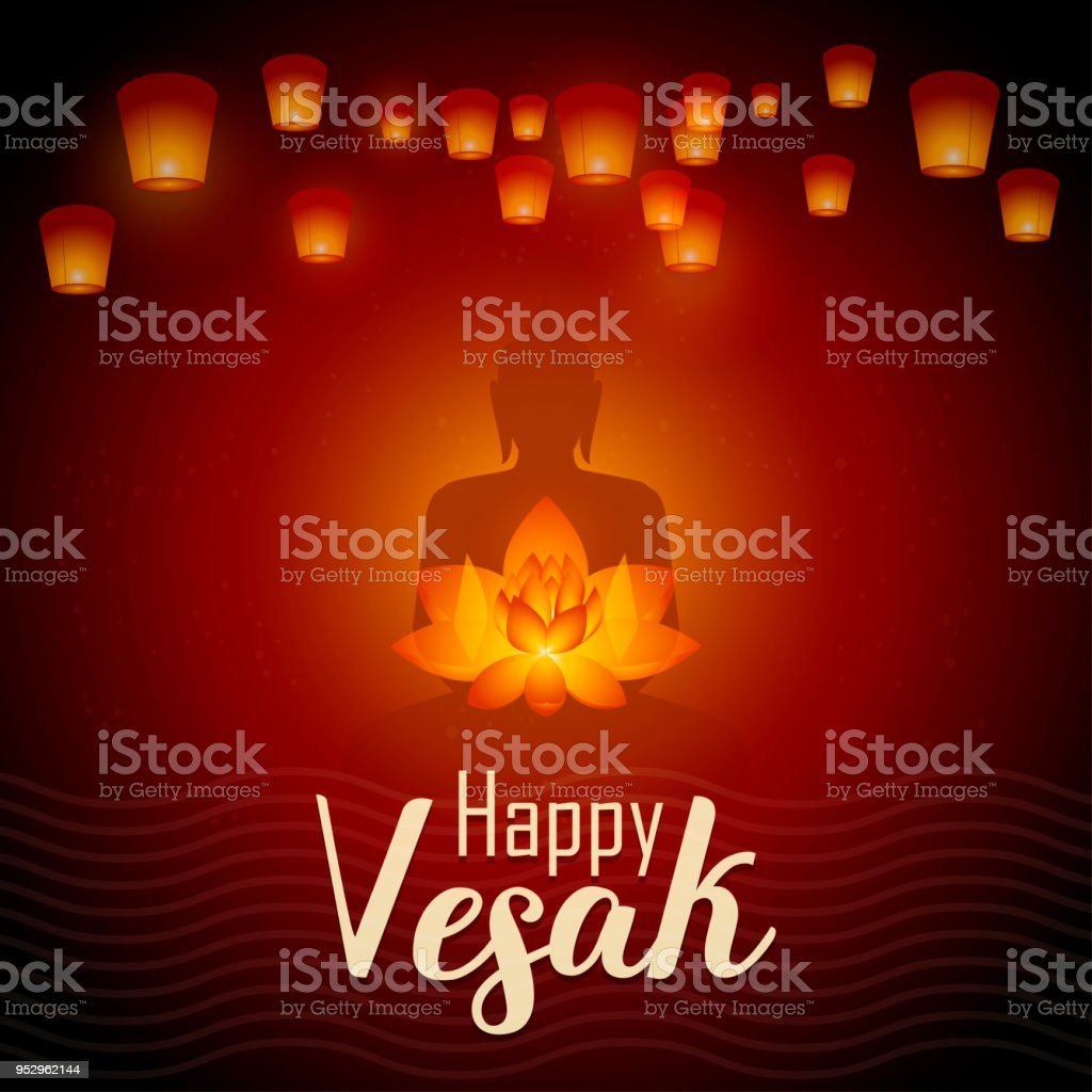 Happy Vesak Day Vector Illustration Greeting Card Lanterns And Lotus