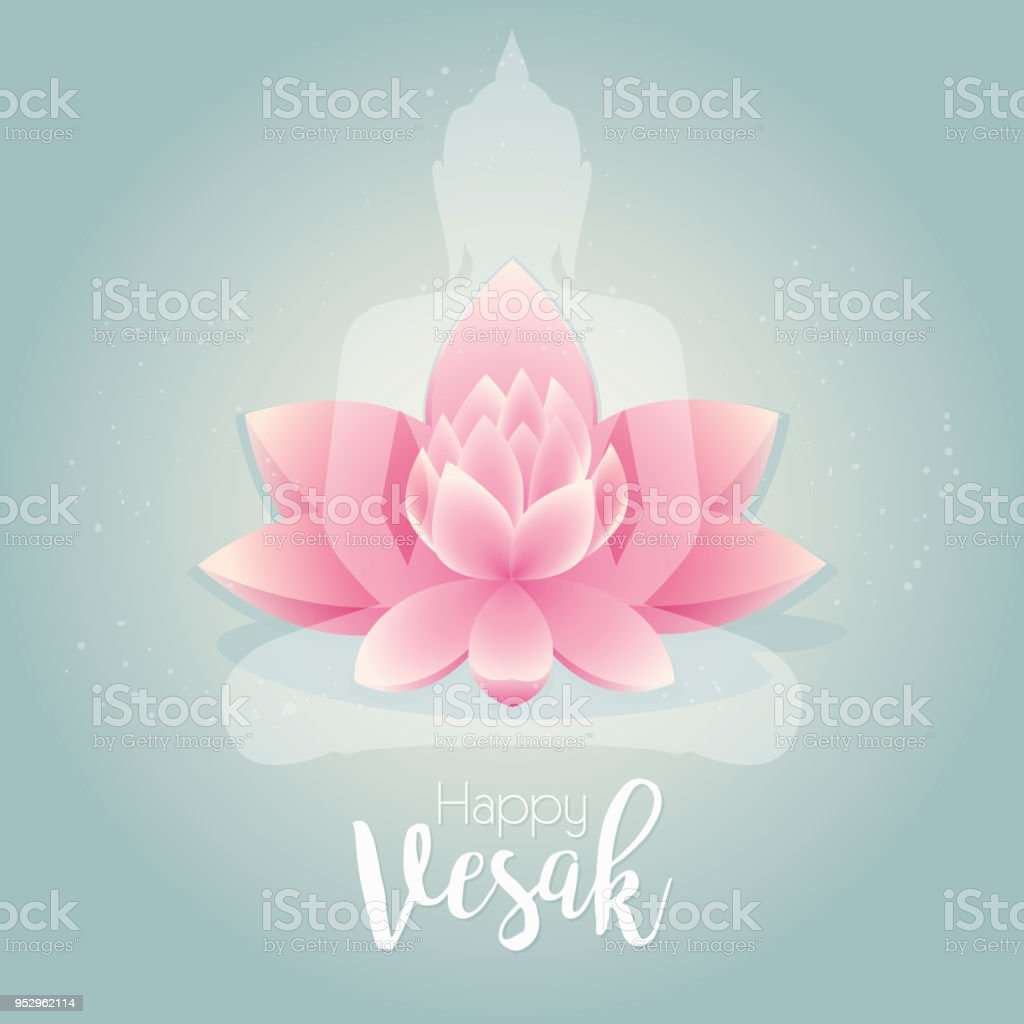 Happy Vesak Day Vector Illustration Greeting Card Pink Lotus Flower