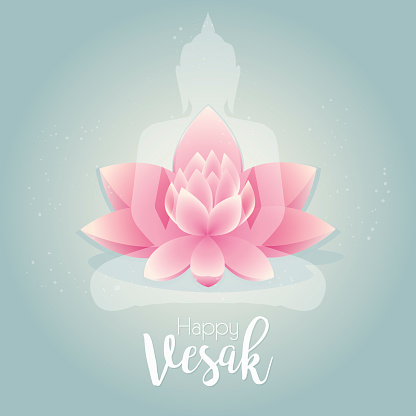 Happy Vesak day. Vector illustration greeting card. Pink lotus flower with buddhas silhouette.