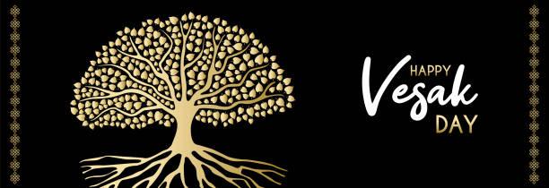Feliz Vesak Day banner Web de oro Bodhi árbol - ilustración de arte vectorial