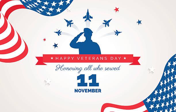 ilustrações, clipart, desenhos animados e ícones de happy veteran day flyer, banner or poster - forças armadas