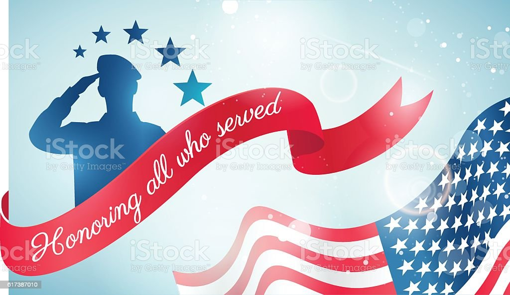 Happy Veteran Day flyer, banner or poster. vector art illustration