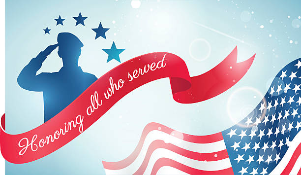 Happy Veteran Day flyer, banner or poster. Happy Veteran Day flyer, banner or poster. Holiday background with waving flag, soldier silhouette and curving ribbon. Thank you, Veterans. Vector illustration saluting stock illustrations