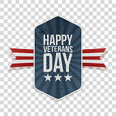 Happy Veterans Day american Banner Template on transparent Background. Vector Illustration