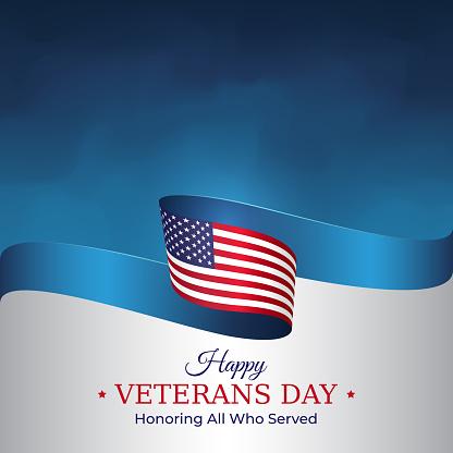 Happy veterans day banner. Waving american flag on blue sky background. US national day november 11. Poster, typography design, vector illustration