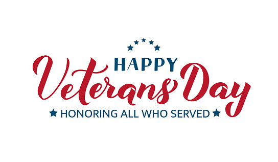 Happy Veterans Day calligraphy hand lettering isolated on white. American holiday banner. Easy to edit vector template for typography poster, flyer, sticker, greeting card, postcard, t-shirt, etc.
