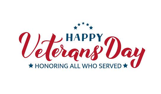 快樂退伍軍人節書法手字隔離在白色上美國節日橫幅易於編輯版式海報傳單貼紙賀卡明信片t恤等向量範本向量圖形及更多11號圖片