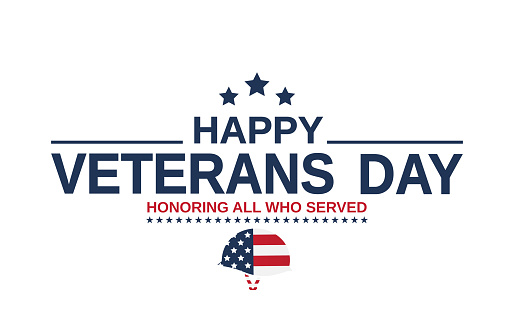 Happy Veterans Day card as USA flag. Honoring all who served. Vector illustration.