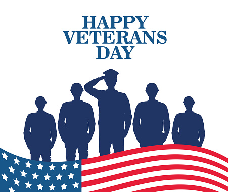 happy veterans day celebration with military officer and soldiers saluting and flag vector illustration design