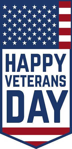 Happy veterans day emblem template isolated on white background. Design element for label, emblem, sign, poster. Vector illustration