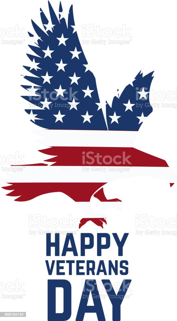 Happy veterans day emblem template isolated on white background. vector art illustration