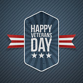 Happy Veterans Day greeting Badge on blue striped Background. Vector Illustration