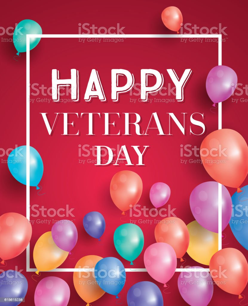 Happy veterans day greeting card with flying balloons stock vector happy veterans day greeting card with flying balloons royalty free happy veterans day greeting m4hsunfo