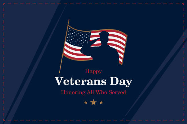 happy veterans day. greeting card with usa flag and silhouette of a soldier on the background. national american holiday event. flat vector illustration eps10 - veterans day stock illustrations