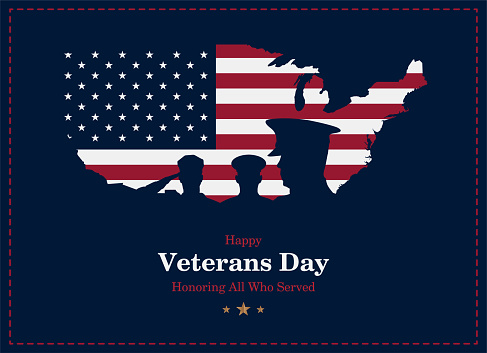 Happy Veterans Day. Greeting card with USA flag, map and soldier on background. National American holiday event. Flat vector illustration EPS10