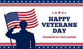 Happy veterans day honoring all who served poster background template design. Soldier military salutation silhouette with usa america flag behind vector illustration.