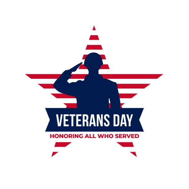 счастливый день ветеранов в честь всех, кто служил ретро старинный логотип значок празднования плакат фон вектор дизайна. солдат военного � - veterans day stock illustrations