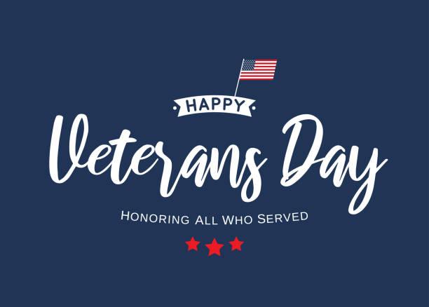 happy veterans day lettering blue card. vector - veterans day stock illustrations