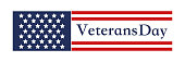 Happy Veterans Day lettering with USA flag illustration. November 11 holiday background. Celebration poster with stars and stripes