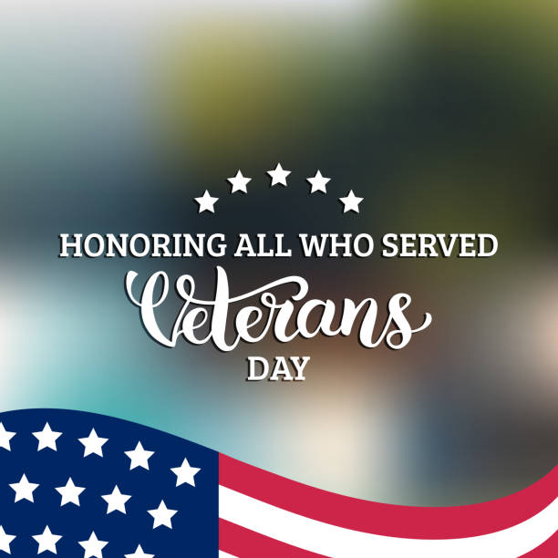 Happy Veterans Day lettering with USA flag vector illustration. November 11 holiday background. Celebration poster. vector art illustration