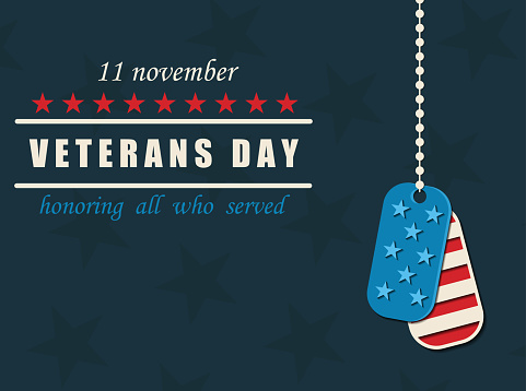 Happy Veterans Day. Military dog tags. American traditional patriotic celebration.
