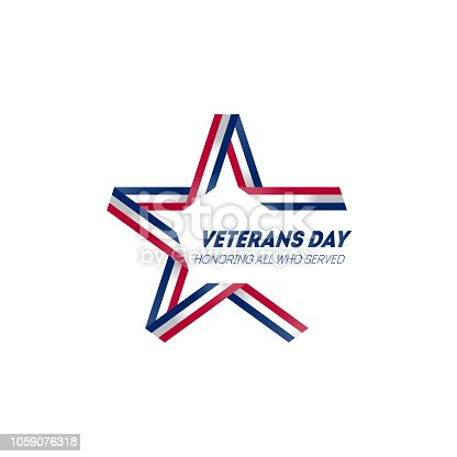 Happy Veterans Day. November 11th. Veterans Day poster design with American flag coors and symbols. USA veterans day design.