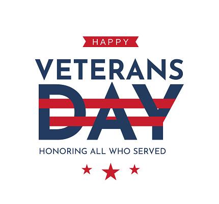 Happy Veterans Day poster. Vector